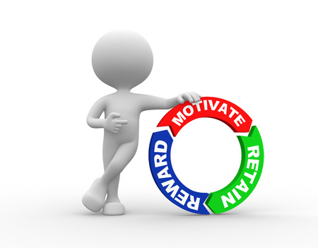 motivating: 3d peorson - man and Motivate, Reward and Retain words on arrows around Stock Photo