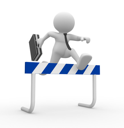 idea hurdle: 3d people - man , person jump over the barrier. Businessman