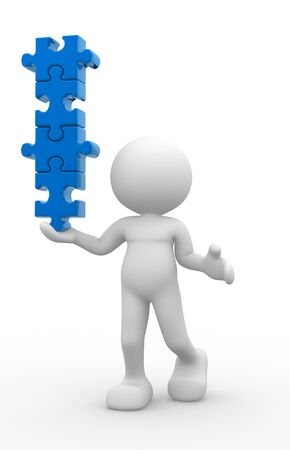 equilibrium: 3d people - man, person with pieces of puzzle in equilibrium. Stock Photo