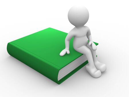 book concept: 3d people - men, person with green  book. Education concept Stock Photo