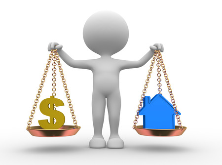equipoise: 3d people - man, person with a dollar sign or a house in balance