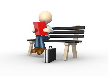 personas leyendo: 3d gente - hombre, persona que lee el libro en el banco
