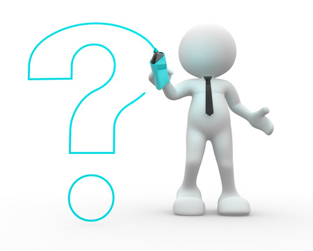 questionmark: 3d people - man, person drawing with marker a question mark Stock Photo