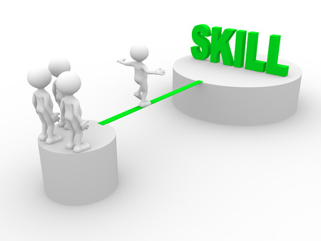 skill: 3d people - man, person walking on the wire. Skill Stock Photo