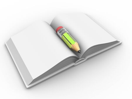 scientific literature: 3d render open book and a pencil. Stock Photo