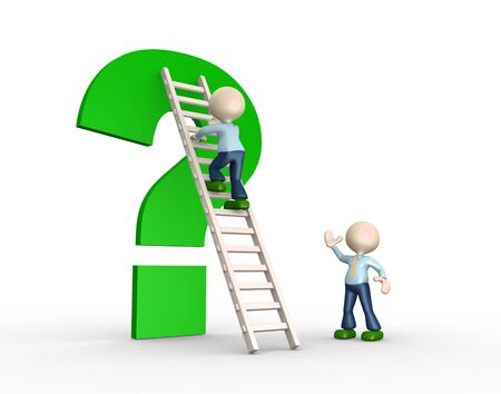 clamber: 3d people - men, person with a ladder and an question mark .