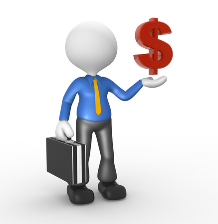 3D-Menschen - ein Mann, Person mit Dollarzeichen. Geschäftsmann Standard-Bild