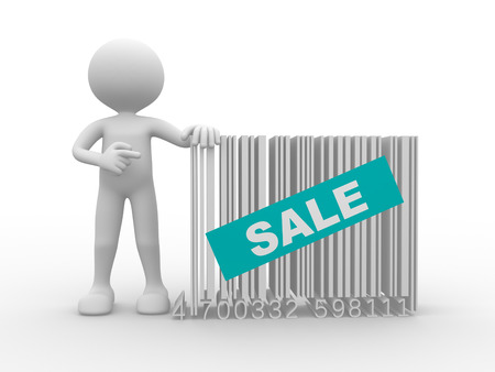 3d people - man, person with a bar code. Concept of sale