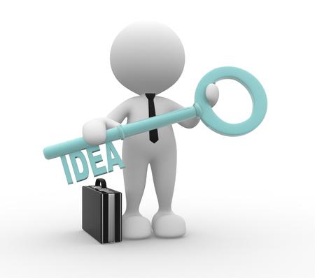 """3D-Menschen - ein Mann, Person mit einem Schlüssel und Wort """"Idee"""". Geschäftsmann Standard-Bild - 50425952"""