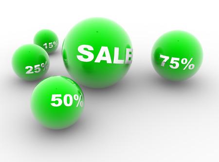 Verkauf und Rabatten. Grüne Kugeln. Konzept des Einkaufens. 3d redner Standard-Bild