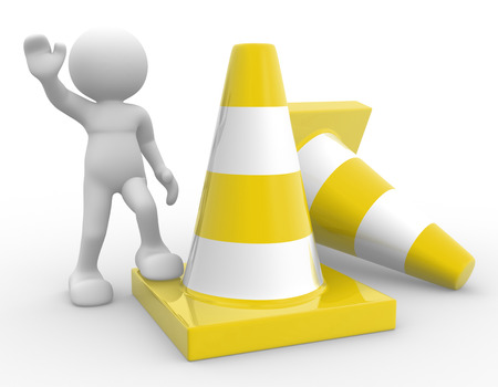 accidents: 3d people - man, person and traffic cones. Stock Photo