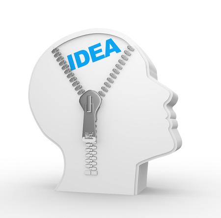 3d menschlichen Kopf und ein offener Reißverschluss mit Idee. Konzept der Intelligenz Standard-Bild - 50425957