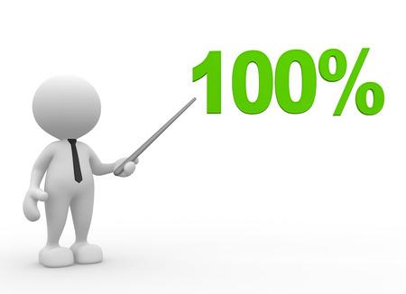 3D-Menschen - ein Mann, Person mit einem Prozent sign.100%. Geschäftsmann
