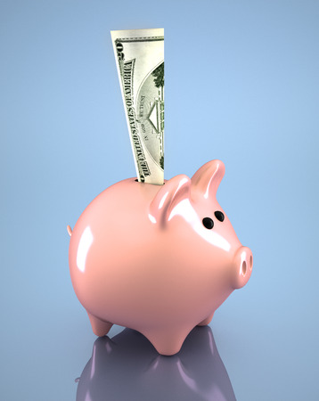 3d render pink piggy bank and dollar in it