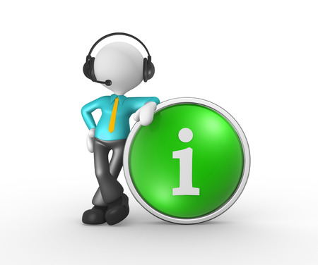 contactus: 3d people - man, person with headphones with microphone and button i - information.