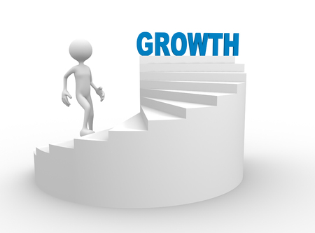 3d people - man, person with stair and word GROWTH Standard-Bild