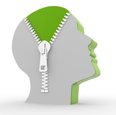 3d menschlichen Kopf und o offenen Reißverschluss. Konzept der Intelligenz