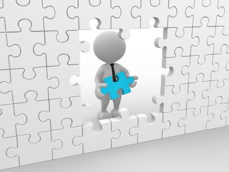 3D-Menschen - ein Mann, Person mit einem Puzzle-