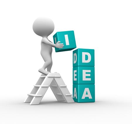 achievement concept: 3d people - men, person and cubes. Idea concept
