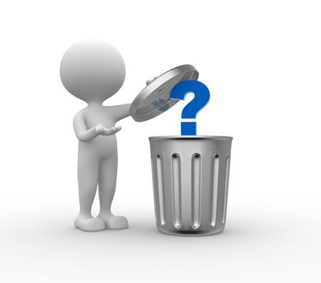 3d человек - человек, человек, стоящий рядом с мусорную корзину и знак вопроса