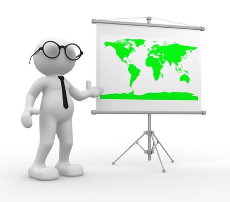 3D-Menschen - ein Mann, Person, mit der Weltkarte
