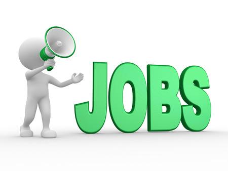 3D-Menschen - ein Mann, Person mit einem Megaphon und Wort JOBS