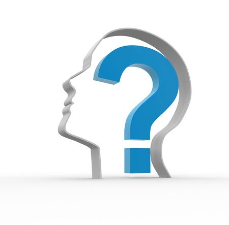 Menschlicher Kopf mit einem Fragezeichen. 3D-Darstellung Illustration Standard-Bild
