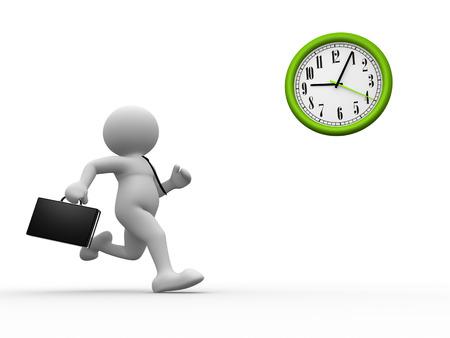 3D-Menschen - ein Mann, Person mit Aktenkoffer Laufzeit. Geschäftsmann und eine Uhr. Standard-Bild