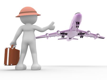 3D-Menschen - ein Mann, Person mit einem Koffer und einem Flugzeug. Konzept der Reise. Trampen. Standard-Bild