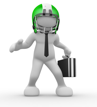 3d people - man, person with helmet and a  briefcase. American football player and businessman. Standard-Bild