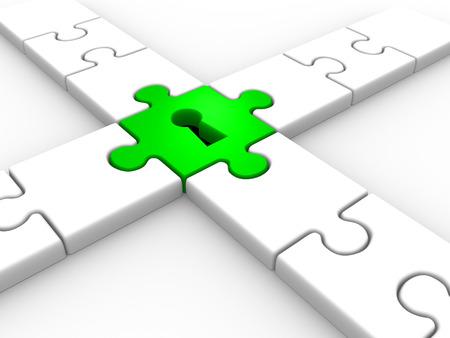 Puzzle mit Schlüsselloch. 3d render Standard-Bild