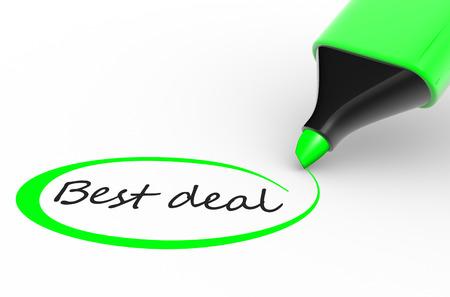 """Marker und """"beste Angebot"""". 3d render Standard-Bild"""