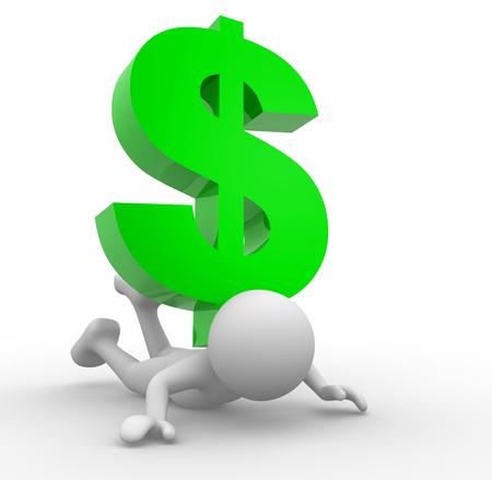 3d people -man, personne frappé par le signe dollar Banque d'images - 50426165