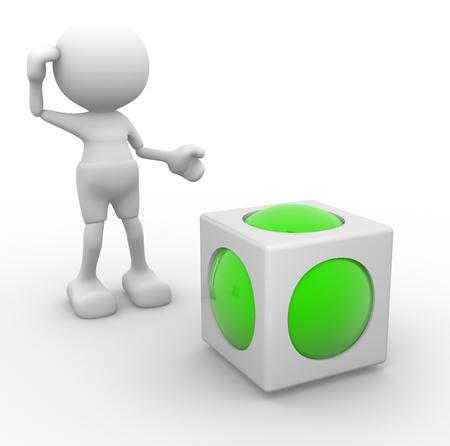 3D-Menschen - ein Mann, Person und ein Würfel mit einer Kugel im Inneren. Abstract Design.