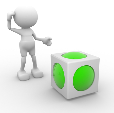 3d people - man, person and a cube with sphere inside. Abstract design. Stock Photo