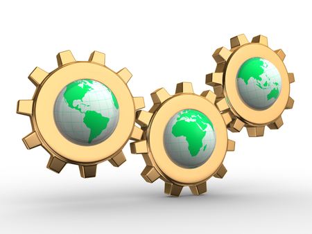 Conceptual Earth globes and gear mechanism. 3d render