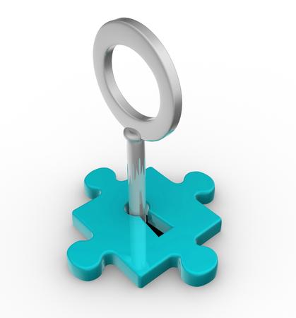 Jigsaw Puzzle-Stück mit Schlüssel. 3d render