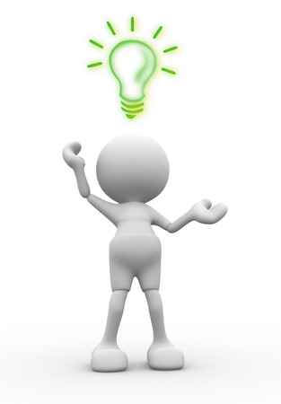 3d people - men, person is fighting for a light bulb Standard-Bild