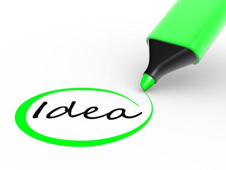 """Marker Bleistift und """"Idee"""" Wort. 3d render"""