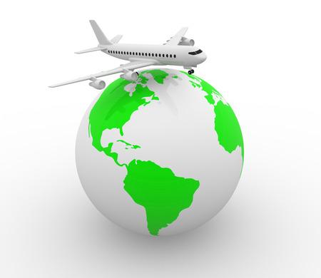 Avion conceptuel sur un globe terrestre - 3d render Banque d'images - 50426177