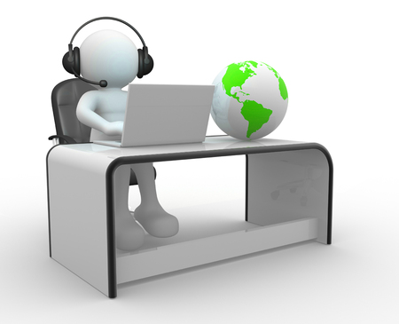 person: 3d Earth globe and a person with headphones and laptop at a office. 3d render