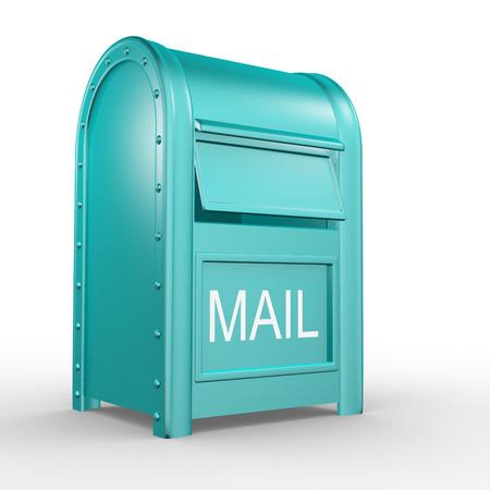 Почтовый ящик (почтовый ящик - почтовый ящик), изолированных на белом фоне. 3d иллюстрации