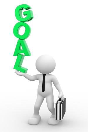 """3D-Menschen - ein Mann, Person und Wort """"Goal"""". Geschäftsmann Standard-Bild"""