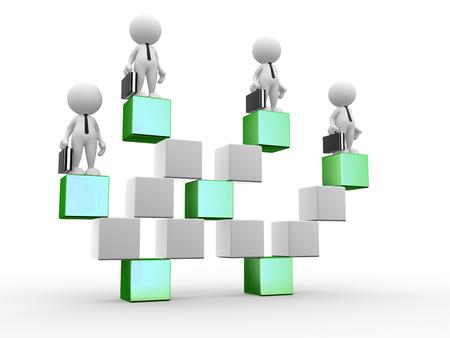 3D люди - мужчины, человек куб в форме лестницы. Успешный бизнес