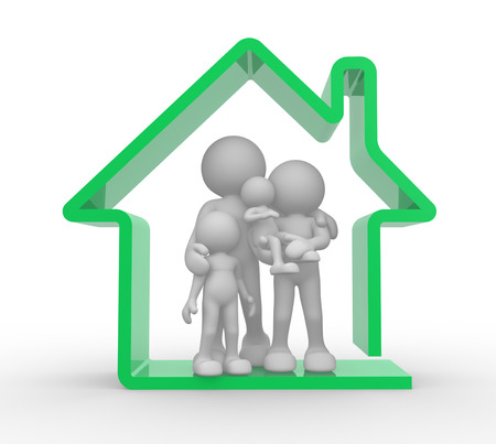 3d people - man, person and a house. Kids and parents. Family house . Standard-Bild