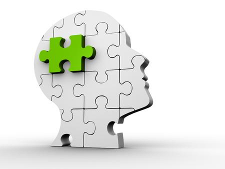 3d человеческая голова сделана из головоломки