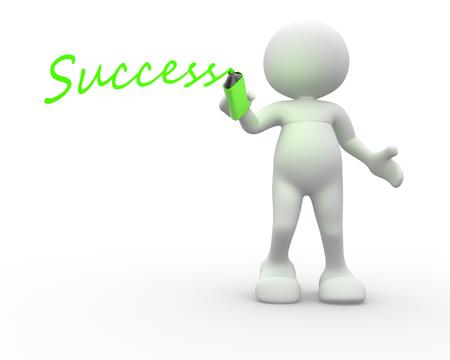 """3D-Menschen - ein Mann, Person mit Marker und Wort """"Erfolg"""" Standard-Bild"""