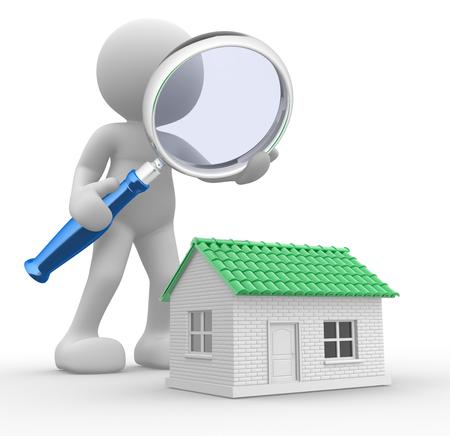 3D-Menschen - ein Mann, Person mit einer Lupe und einem Haus. Suche neues Haus
