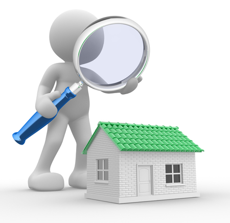 3d people - man,  person with a  magnifying glass and a house. Search new house