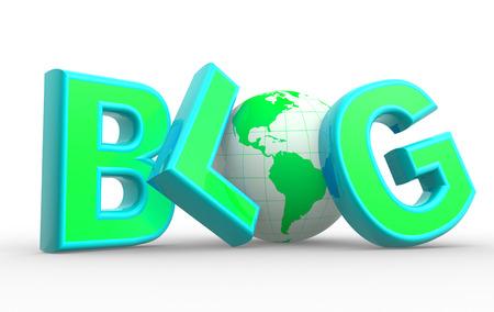 """3D-Wort """"Blog"""" und Erde Globus. Konzept der Kommunikation - Internet."""